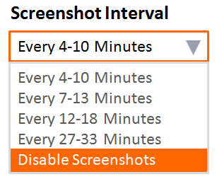 AY-YES! Time Tracker™ Desktop Application Screenshot Interval Settings
